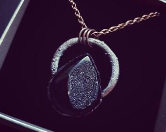 Beautiful Polished black Druzy electroformed pendant- electroformed jewellery- electroforming- stone pendant- Valentine's gift- UK