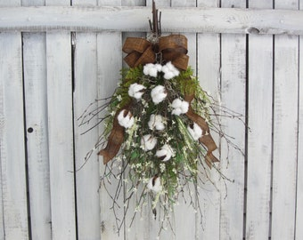 Spring Wreath - Cotton Ball Wreath - Farmhouse Wreath - Cotton Ball Decor - Cotton Wreath - Cotton Swag - Rustic Twig Swag - Cotton Boll
