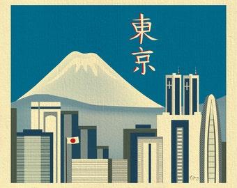 SALE Tokyo Skyline Print, & Mt. Fuji, Japan Print, Tokyo Japan Art,  Japanese Wall Art, Loose Petals Tokyo Kanji Art - style E11-O-TOKK