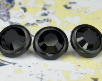10 jet noir cristal cheveux boutons pressions - rond noir jante édition--faite avec des strass Swarovski Element