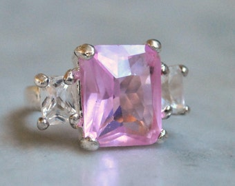 Faceted Pink Glass Cocktail Ring