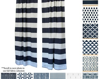 Elegant Curtains- Drapery Panels- PREMIER Navy Blue Curtains- Nautical Drapes- Valance- Custom Curtains- Nursery Curtains- Bedroom Curtains