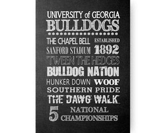 University of Georgia Bulldogs Chalkboard Poster Digital Download