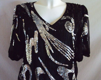 Vintage black and silver sequin blouse size medium/ 14/ 97cm