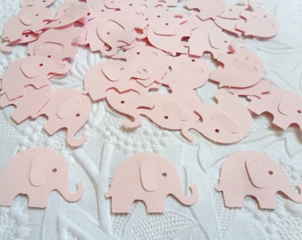 50 Light Pink Elephant Confetti-1 Inch-Scrapbooking-Gift Wrapping-Embellishments-Baby Girl-Shower-Birthday Party-Punches