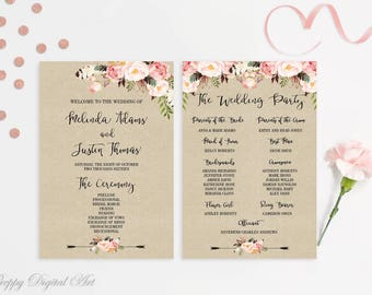 Boho Wedding Program Printable Floral Wedding Program Template Blush Wedding Program Rustic Program Order of Ceremony Wedding Ceremony