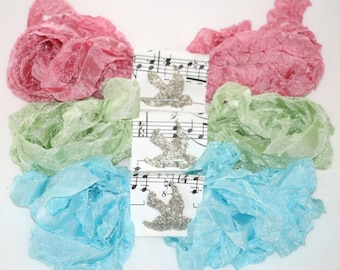 Crinkled Seam Binding ,  Ribbon , Carnival Fun , pink,  aqua,  light green , 18 Yards , Supplies