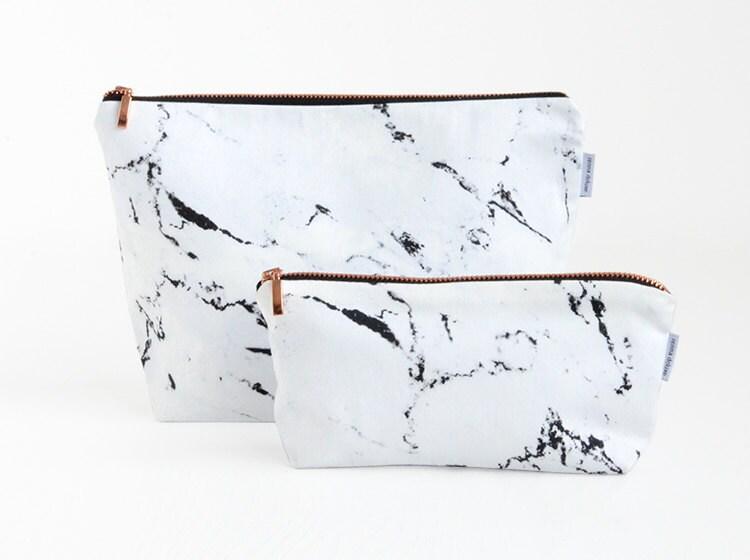 Marble Bag Carrara White Marble Rose Gold Zipper Wash Bag