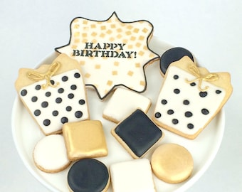 Birthday Cookie Gift Box - Gold Black - Cookies - Personalized