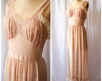 """Carlita   Vintage 1950s Nightgown 50s Lingerie Slip Latte Nylon with Lace Ribbon Tie and Ruffles Glamorous Long Length with Flounce Bust 34"""""""