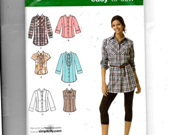 Simplicity Misses' Shirt In Two Lengths With Front, Collar and Sleeve Variations Pattern 2447
