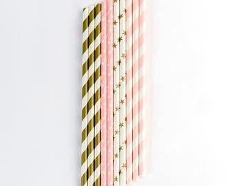Pink & Gold Straws, Party Straws, Birthday Straws,Stars and stripes Pink and gold Party, Baby Shower,Anniversary,Pink and Gold Paper Straws,