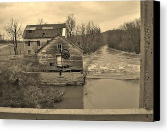 Old Abandoned Gristmill Black and White Art Photo Wall Home Decor Made to order