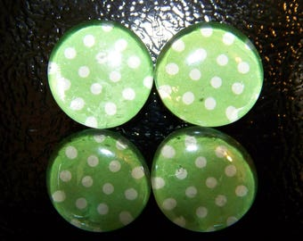 Green and White Polka Dot Refrigerator Magnets Set of 4
