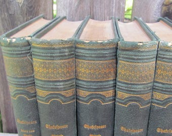 Antique Set of Eight German Shakespeare's Dramatic Works Books