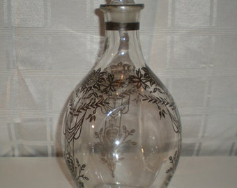 Glass Decanter with Silver Overlay - Vintage - All glass (Sterling Silver Overlay)