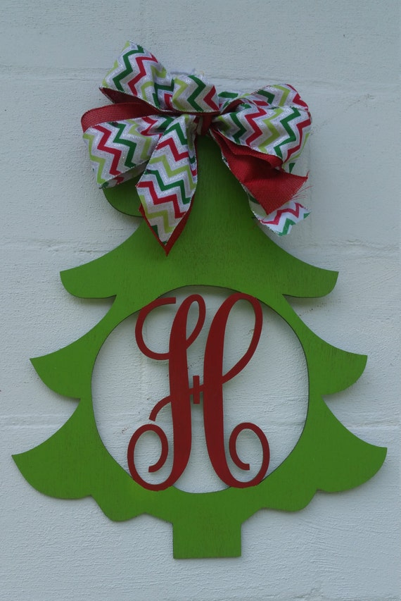Two color painted Christmas Tree Door Hanger Wooden with