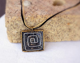 Modern Abstract Black Polymer Clay Square Silver Color Wire Maze and Gold Sparkle Pendant Necklace, Chunky Industrial Jewelry