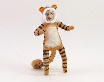 Spun Cotton Vintage Inspired Tiger Boy Figure/Ornament (MADE TO ORDER)