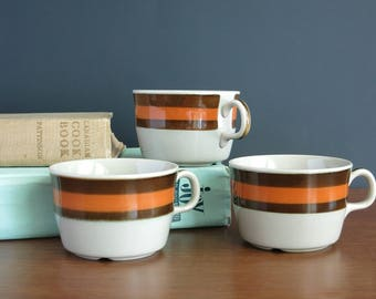 Rorstrand Annika Tea Cups Mugs - 3 Rörstrand Sweden Cups Teacups - Marianne Westmann Design - 1970s Swedish Danish Modern - Brown Orange