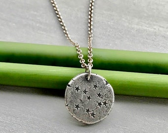 Star Necklace, Rustic Tiny Stars Pendant, Silver Starry Night Necklace, Celestial Necklace, Boho Necklace, Unique Gift for Her