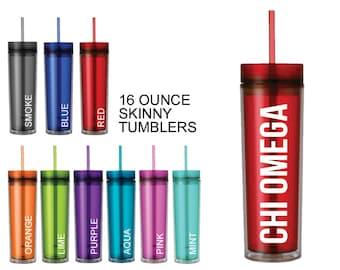 ChiO Chi Omega Skinny Tumbler Sorority Gift Sorority Tumbler