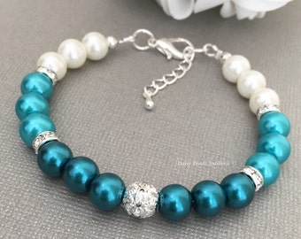 Shades of Teal Ombre Bracelet Bridal Gift Teal Pearl Bracelet Ombre Bracelet Teal Wedding Teal Bracelet Bridesmaid Jewelry