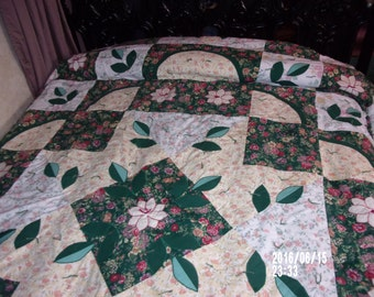 PosyParty, hand-made, hand-tied unique design cotton quilt.