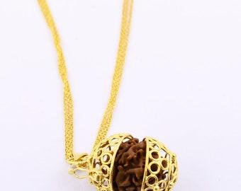 Certified Natural Rudraksha Pendant with Chain, Designer Rudraksh Jewelry,Certified Nepal Rudaksha, 4 Mukhi, 5 Mukhi, 7 Mukhi,
