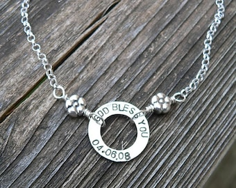 Solid Sterling Silver Circle Necklace Washer Necklace with Sterling, Pearl or Crystal Hand Stamped Font Choice - Your Names or Message Words