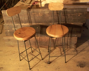 Reclaimed Maple Swivel Bar Stools with Rebar Legs and Back Rest