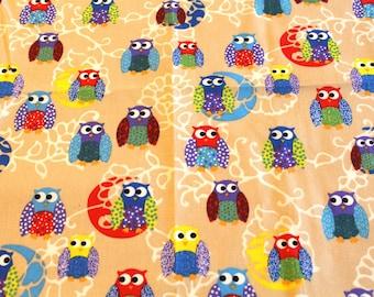 Fabric cotton owls 50 x 70 cm