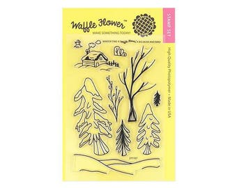 Waffle Flower WINTER TIME 4x6 - Set of 10 CLEAR Photopolymer stamps Cabin Trees Snow #271157