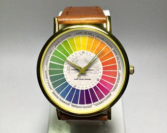Color Wheel Watch. Vintage Style Watch. Mens Watch. Watches for Women. Wrist Watch. Jewelry. Print.  Leather Watch. Artist Gift. Painter