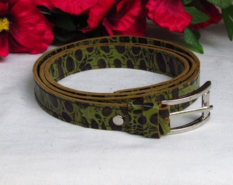 green leather belt, crocodile print belt, women green belt, women leather belt, green women belt, women leather belt, women belt leather