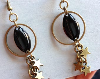 Earrings handcrafted rain of bronze and black stars