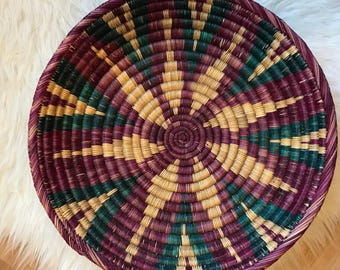 Purple rope coiled basket / handmade african basket decor