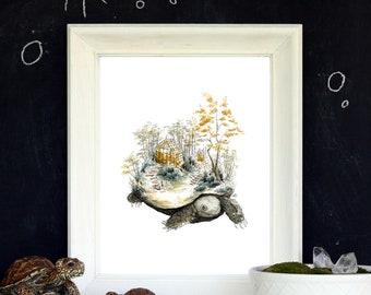 "The Wandering Garden - Turtle Greenhouse - 8""x10"" Watercolor Art Print"