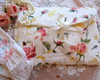 Toiletry Bag, Travel Bag, Cicely Mary Barker Fabric, Watercolor Roses on Bag, Overnight Case, by mailordervintage on etsy