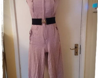 80's Funky Pink Stripy Romper Playsuit. UK Size 8.