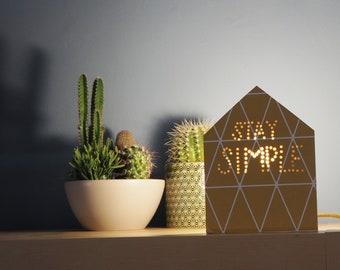 Cottage lamp, Yellow lamp, Geometric lamp, Wood design lamp, Bedside table lamp, Gift for her, Wooden lamp, Studio lamp, Nordic design lamp