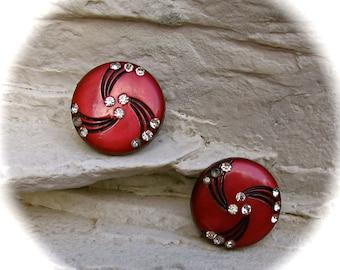 Vintage 50s Clip On Deco Red Black Rhinestone Earrings