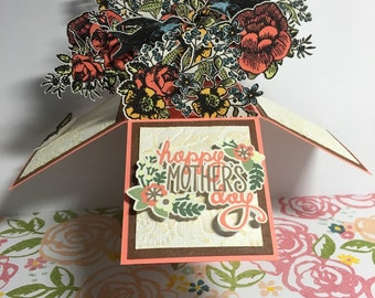Antique Rose Bouquet  - Pop Up Box Card