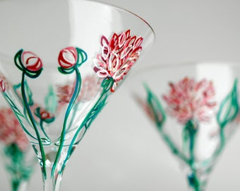 Pink Peonies Martini Glasses--Set of 2 Hand-Painted Cocktail Glasses