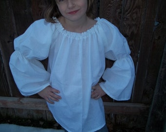 Girls Choice of Size (1/2, 3/4, or 5/6,) Renaissance Faire Bell Flared Chemise Blouse