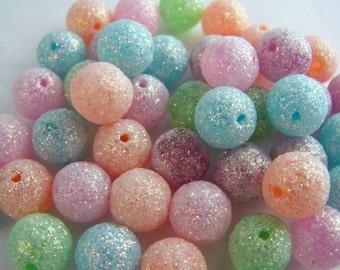 FREE SHIPPING - 11 pcs Glitter Sparkley Acrylic Beads (#1311)