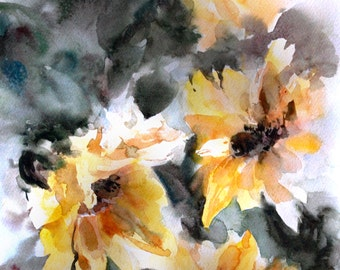 Sunflowers Original Watercolor Painting, Floral Watercolor painting, yellow flowers botanical modern painting