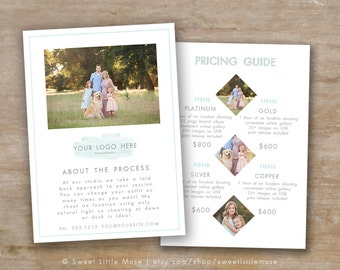 Sell sheet - price list template - photography pricing template - photography marketing template
