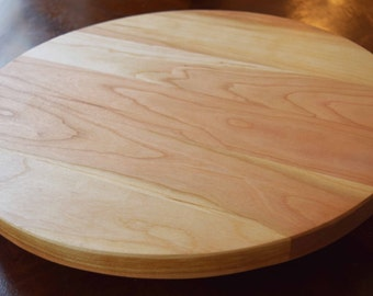 """Cherry Lazy Susan Turn Table 12""""-14"""" Center Piece Solid Hardwood"""