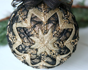 Quilted Christmas Ornament Ball-Black-Gold-Midnight Hour